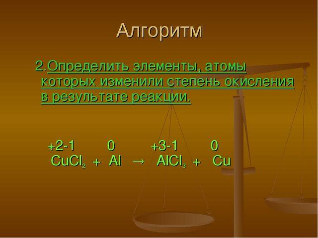 Алгоритм 2.Определить элементы, атомы которых изменили степень окисления в ре...