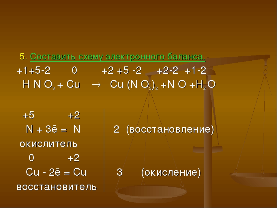 5. Составить схему электронного баланса. +1+5-2 0 +2 +5 -2 +2-2 +1-2 H N O3...