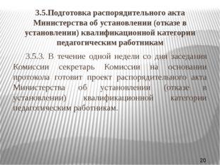 3.5.Подготовка распорядительного акта Министерства об установлении (отказе в