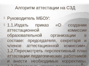 Алгоритм аттестации на СЗД Руководитель МБОУ: 1.1.Издать приказ «О создании а