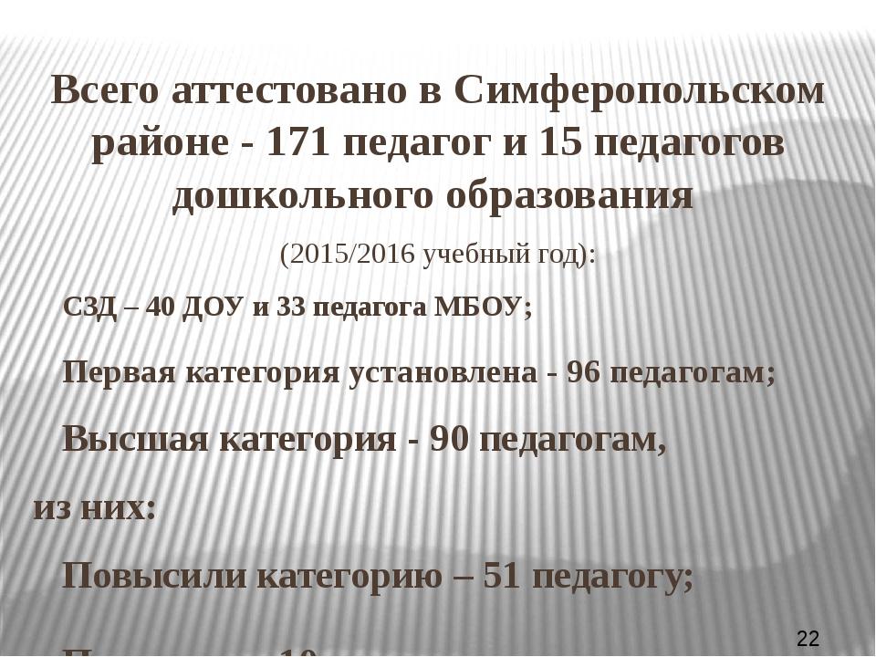 Всего аттестовано в Симферопольском районе - 171 педагог и 15 педагогов дошк...