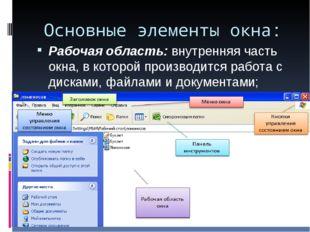 Основные элементы окна: Рабочая область: внутренняя часть окна, в которой про