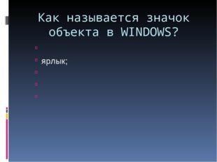 Как называется значок объекта в WINDOWS? ярлык;