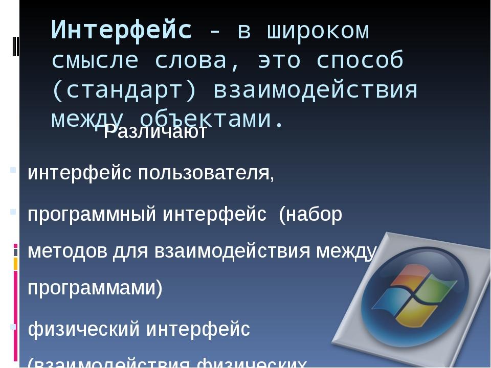 Интерфейс - в широком смысле слова, это способ (стандарт) взаимодействия межд...