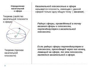 Определение касательной к сфере Касательной плоскостью к сфере называется пло