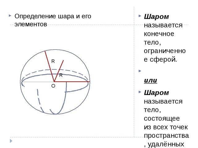 Шаром называется конечное тело, ограниченное сферой. или Шаром называется тел...