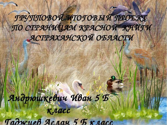 ГРУППОВОЙ ИТОГОВЫЙ ПРОЕКТ ПО СТРАНИЦАМ КРАСНОЙ КНИГИ АСТРАХАНСКОЙ ОБЛАСТИ Анд...
