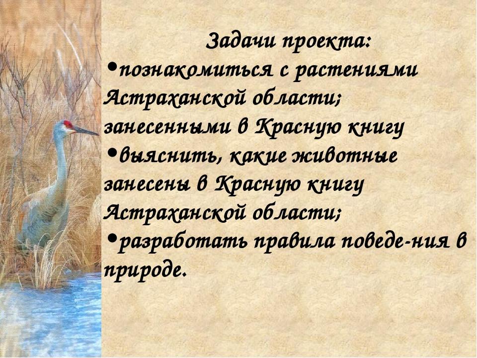 Задачи проекта: •познакомиться с растениями Астраханской области; занесенными...