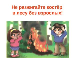 Не разжигайте костёр в лесу без взрослых!