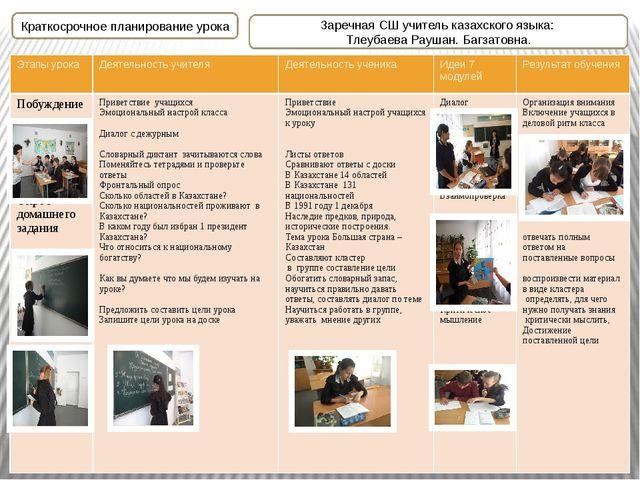 Краткосрочное планирование урока Заречная СШ учитель казахского языка: Тлеуб...