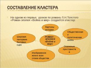 На одном из первых уроков по роману Л.Н.Толстого «Роман-эпопея «Война и мир»