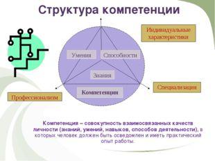Структура компетенции Компетенция – совокупность взаимосвязанных качеств лич