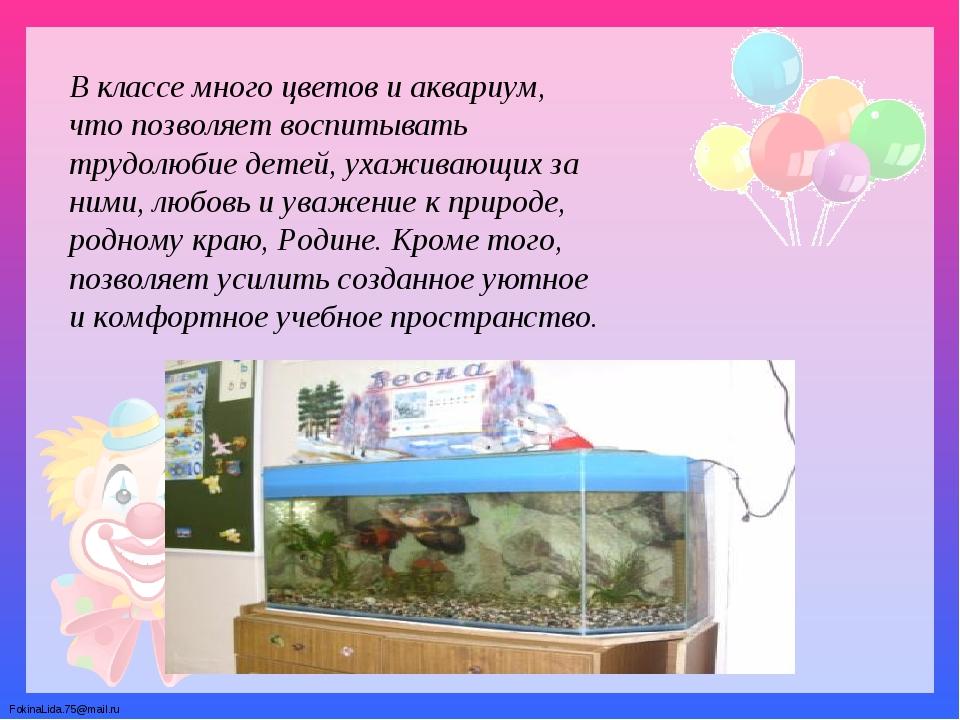 В классе много цветов и аквариум, что позволяет воспитывать трудолюбие детей,...
