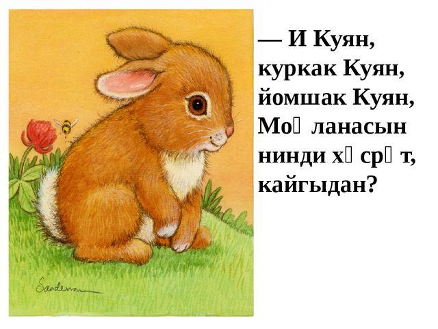 — И Куян, куркак Куян, йомшак Куян, Моңланасын нинди хәсрәт, кайгыдан?
