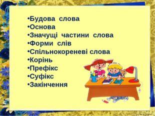 Будова слова Основа Значущі частини слова Форми слів Спільнокореневі слова Ко