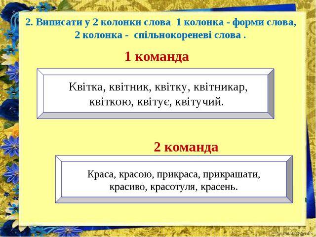2. Виписати у 2 колонки слова 1 колонка - форми слова, 2 колонка - спільноко...