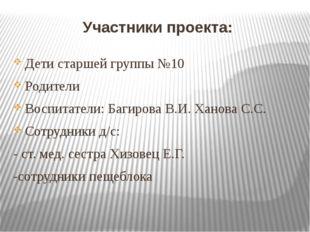 Участники проекта: Дети старшей группы №10 Родители Воспитатели: Багирова В.И