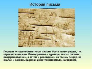 Первым историческим типом письма была пиктография, т.е. картинное письмо. Пик
