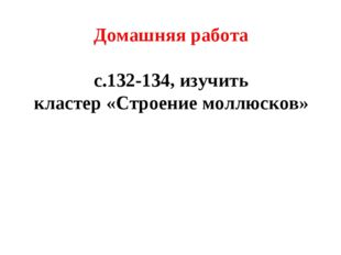 Домашняя работа с.132-134, изучить кластер «Строение моллюсков»