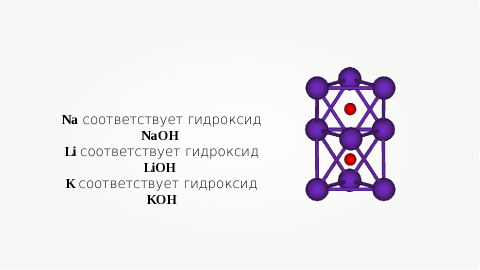 Na соответствует гидроксид NaOH Li соответствует гидроксид LiOH K соответству...