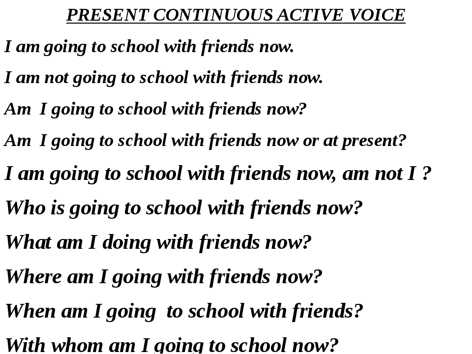 PRESENT CONTINUOUS ACTIVE VOICE I am going to school with friends now. I am n...