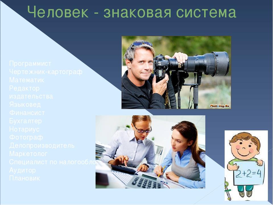 Человек - знаковая система Программист Чертежник-картограф Математик Редактор...