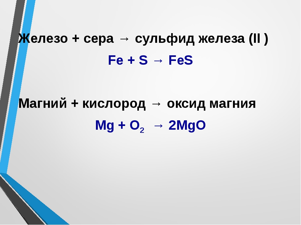 Железо + сера → сульфид железа (II ) Fe + S → FeS Магний + кислород → оксид м...