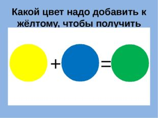 Какой цвет надо добавить к жёлтому, чтобы получить зелёный? + = ?