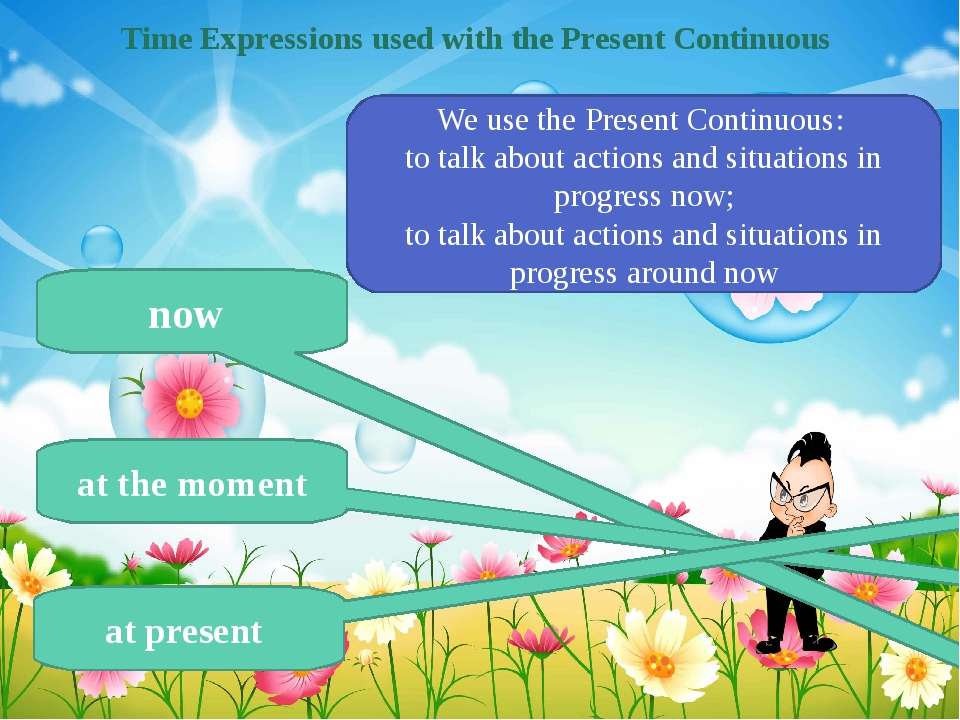 Time Expressions used with the Present Continuous now at the moment at presen...