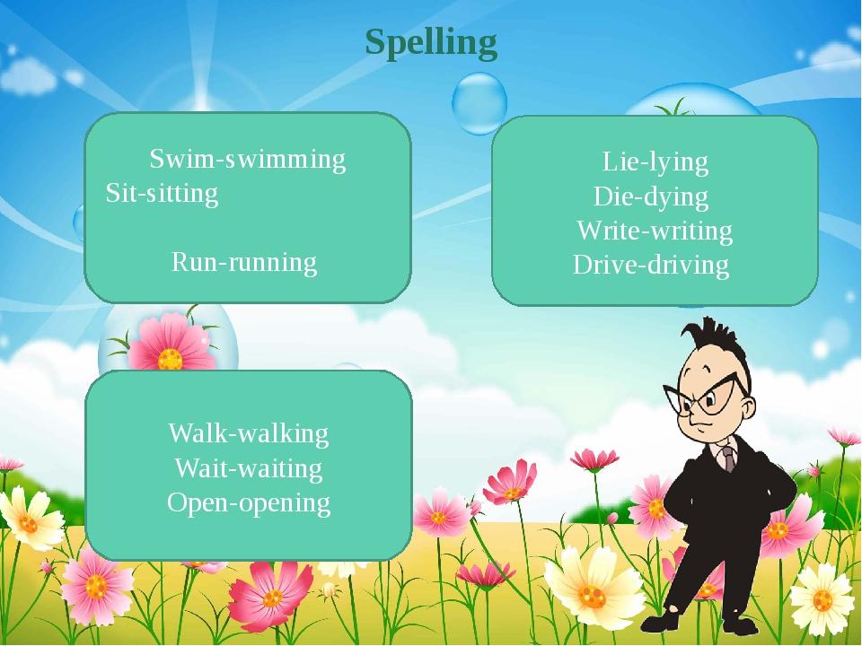 Spelling Swim-swimming Sit-sitting Run-running Walk-walking Wait-waiting Open...