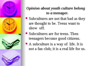 Opinion about youth culture belong to a teenager. Subcultures are not that ba