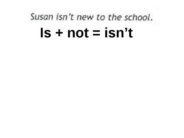 Is + not = isn't