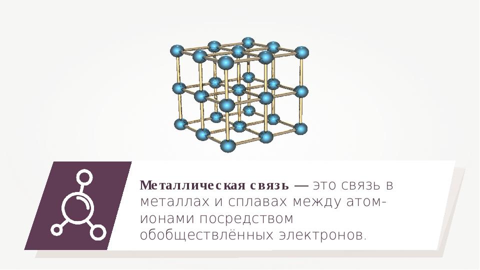 Металлическая связь — это связь в металлах и сплавах между атом-ионами посред...