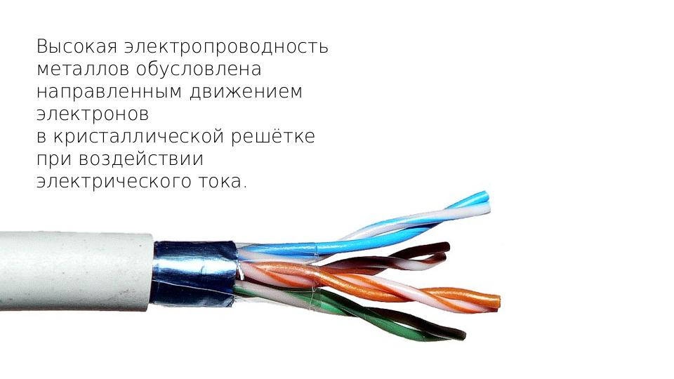 Высокая электропроводность металлов обусловлена направленным движением электр...