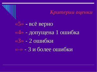 «5» - всё верно «4» - допущена 1 ошибка «3» - 2 ошибки «-» - 3 и более ошибки