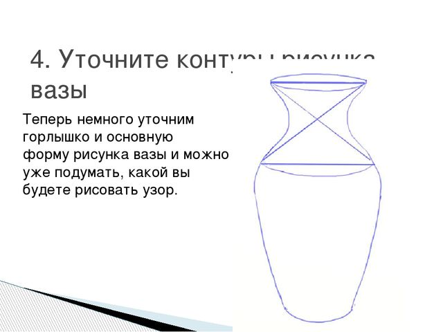 4. Уточните контуры рисунка вазы Теперь немного уточним горлышко и основную ф...