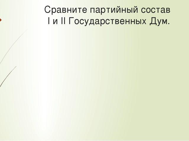 Сравните партийный состав I и II Государственных Дум.