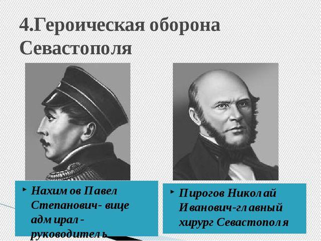 4.Героическая оборона Севастополя Нахимов Павел Степанович- вице адмирал-руко...