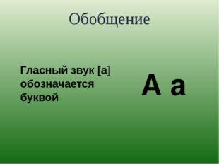 Обобщение Гласный звук [а] обозначается буквой А а