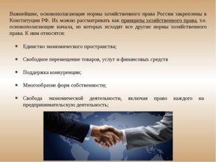 Важнейшие, основополагающие нормы хозяйственного права России закреплены в Ко