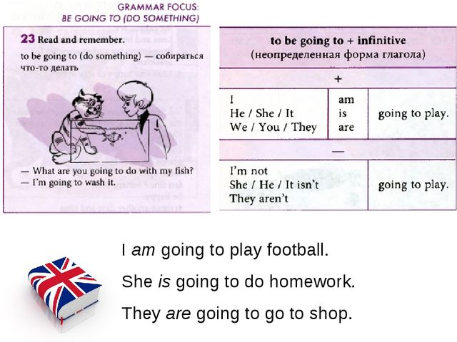 I am going to play football. She is going to do homework. They are going to g...