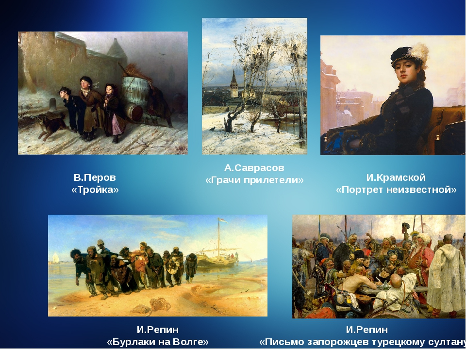 А.Саврасов «Грачи прилетели» В.Перов «Тройка» И.Крамской «Портрет неизвестно...