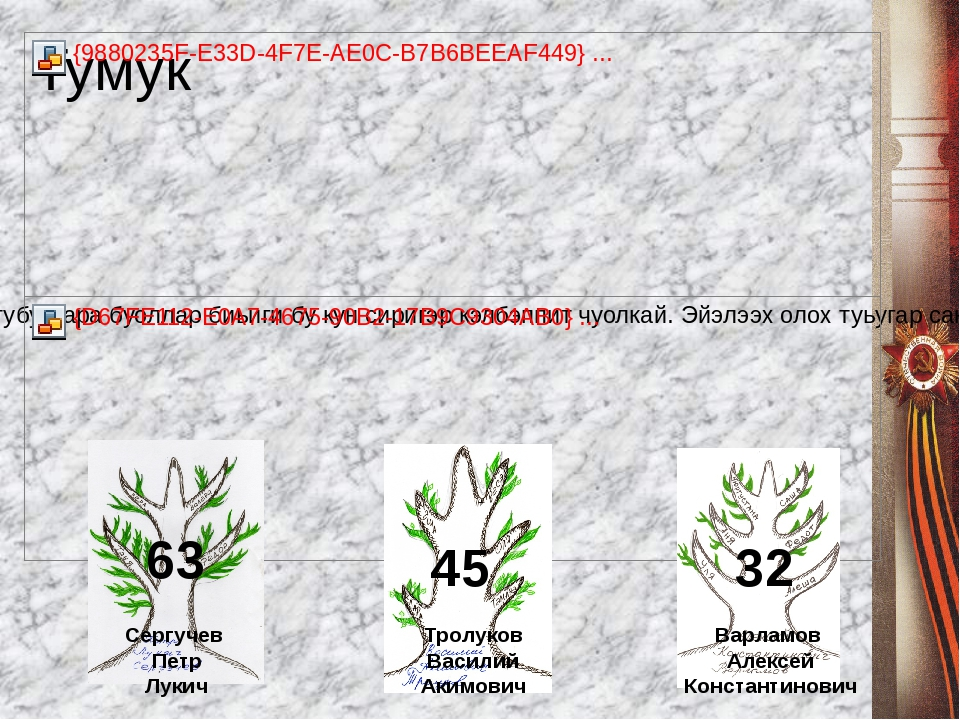 45 Сергучев Петр Лукич Тролуков Василий Акимович 63 Варламов Алексей Констант...