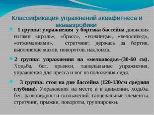 Классификация упражнений аквафитнеса и аквааэробики 1 группа: упражнения у бо