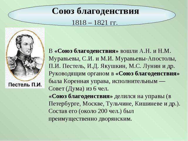 В «Союз благоденствия» вошли А.Н. и Н.М. Муравьевы, С.И. и М.И. Муравьевы-Апо...