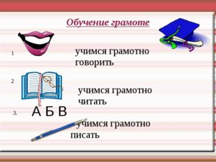 Обучение грамоте 1 2 3. учимся грамотно говорить учимся грамотно читать учимс