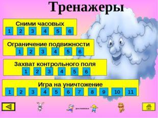 Тренажеры Игра на уничтожение 1 2 3 4 5 6 Ограничение подвижности 1 2 3 4 5 6