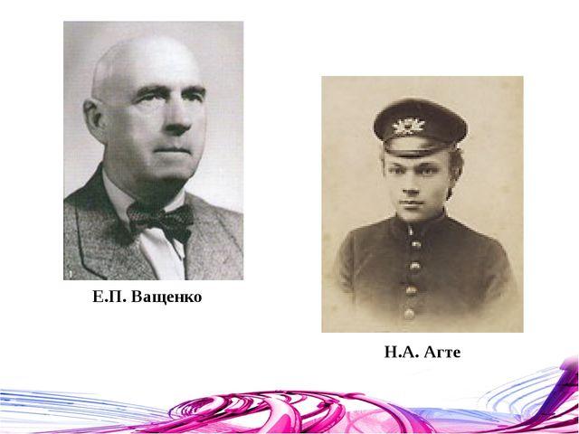 Е.П. Ващенко Н.А. Агте