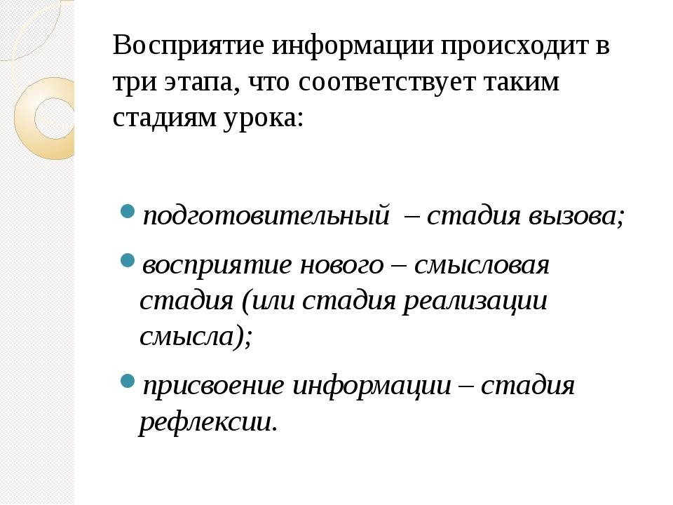 Восприятие информации происходит в три этапа, что соответствует таким стадия...