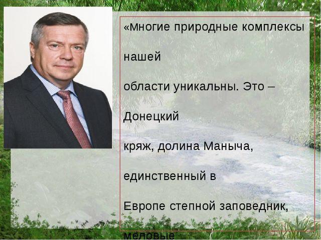 «Многие природные комплексы нашей области уникальны. Это – Донецкий кряж, дол...